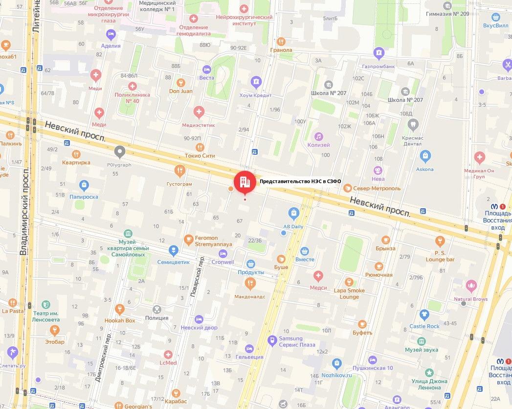 Представительство НЭС в СЗФО карта